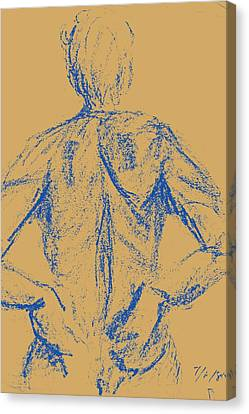 Blue Female Nude Back  Canvas Print by Sheri Buchheit