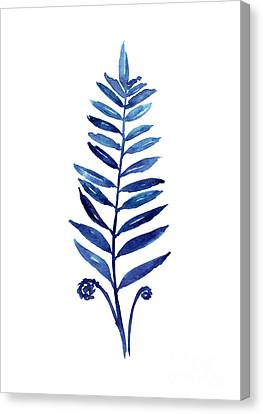 Blue Fern Watercolor Poster Canvas Print by Joanna Szmerdt