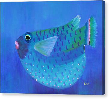Blue Fish With Pink Lips Canvas Print by Karin Eisermann