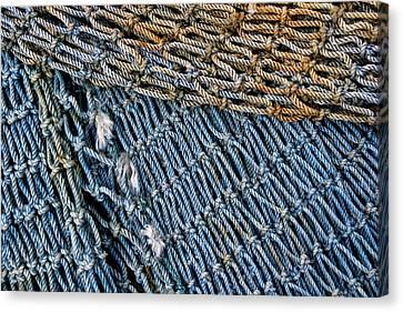 Blue Fishing Net Detail Canvas Print by Carol Leigh