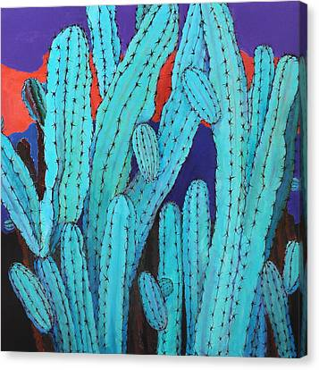 Blue Flame Cactus Acrylic Canvas Print by M Diane Bonaparte