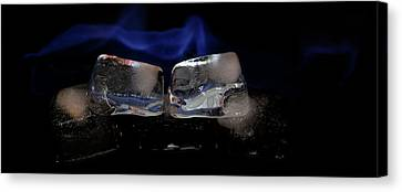 Canvas Print featuring the photograph Blue Flames And Ice by Rico Besserdich