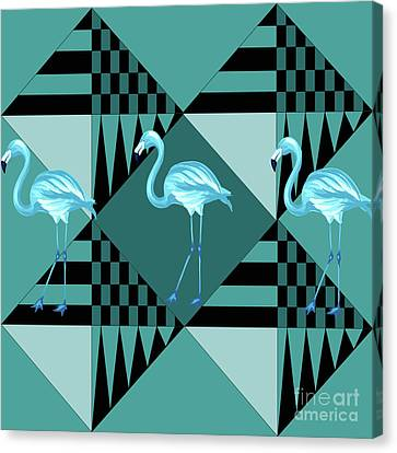 Blue Flamingo Canvas Print