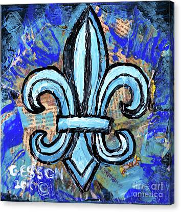 Canvas Print featuring the mixed media Blue Fleur De Lis by Genevieve Esson