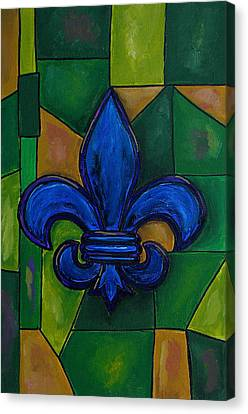 Blue Fleur De Lis Canvas Print by Patti Schermerhorn