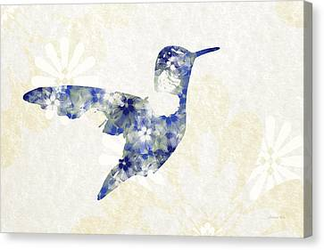 Blue Floral Hummingbird Art Canvas Print by Christina Rollo