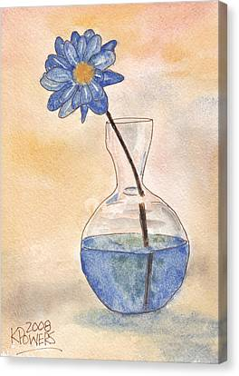 Blue Flower And Glass Vase Sketch Canvas Print by Ken Powers