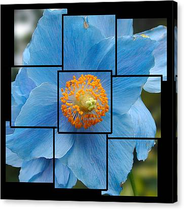 Blue Flower Photo Sculpture  Butchart Gardens  Victoria Bc Canada Canvas Print by Michael Bessler