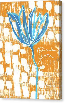 Blue Flower Thank You- Art By Linda Woods Canvas Print by Linda Woods