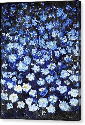 Canvas Print featuring the painting Blue Flowers by Evelina Popilian