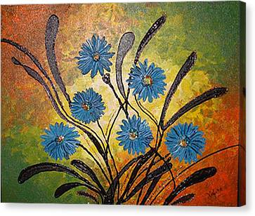 Blue Flowers For True People Canvas Print by Xafira Mendonsa