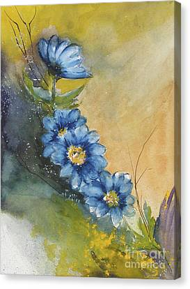 Blue Flowers Canvas Print by Sibby S