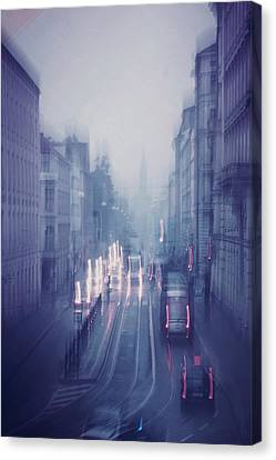Blue Fog Over Rainy City Canvas Print by Jenny Rainbow