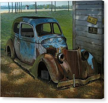Rusted Cars Canvas Print - Blue Ford by Doug Strickland