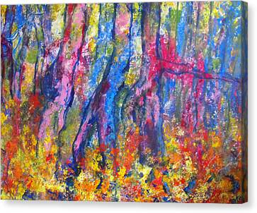 Canvas Print featuring the painting Blue Forest by Koro Arandia