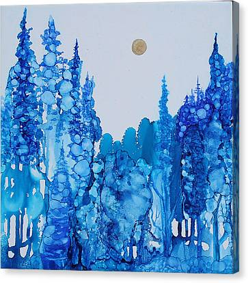Canvas Print featuring the painting Blue Forest by Suzanne Canner