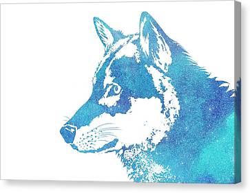 Blue Galaxy Wolf Canvas Print