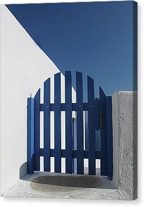 Blue Gate Oia Santorini Canvas Print
