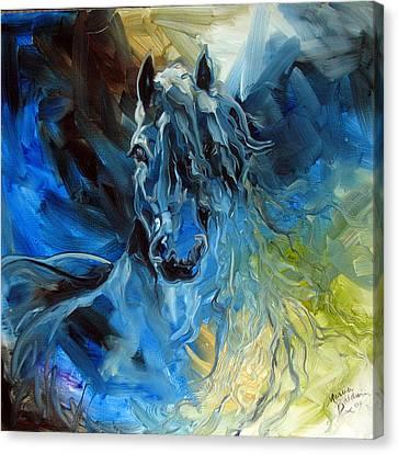 Blue Ghost  Equine Art Original Oil Canvas Print by Marcia Baldwin