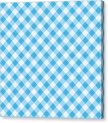 Blue Gingham Fabric Cloth Canvas Print