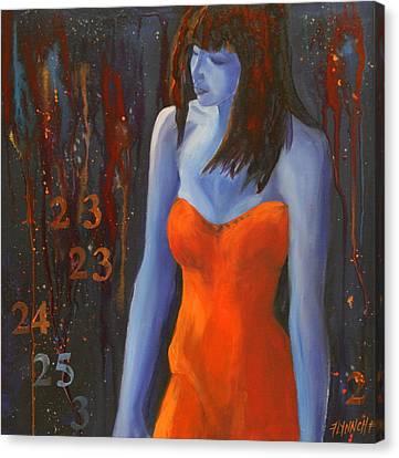 Blue Girl In Red Dress Canvas Print by Lynn Chatman