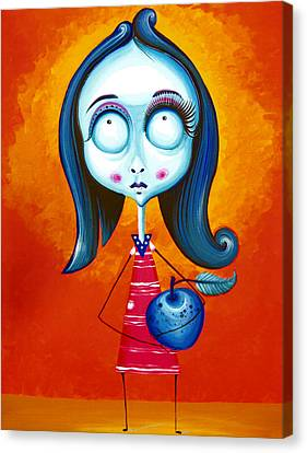 Blue Girl With Blue Apple Canvas Print by Tiberiu Soos