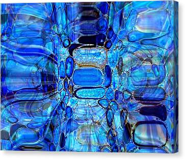 Canvas Print featuring the glass art Blue Glass  by Fania Simon