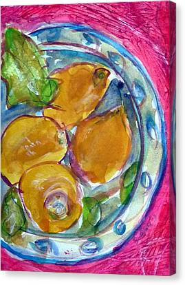 Blue Glass Plate Canvas Print by Beth Sebring