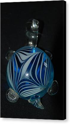 Blue Glass Turtle Canvas Print by Rob Hans