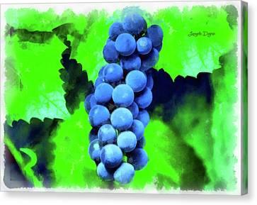 Blue Grapes - Aquarell Over Paper Canvas Print by Leonardo Digenio
