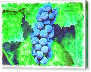 Harvest Canvas Print - Blue Grapes  - Watercolor Style -  - Da by Leonardo Digenio