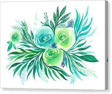 Blue Green And Turquoise Flower In Watercolor Canvas Print by My Art