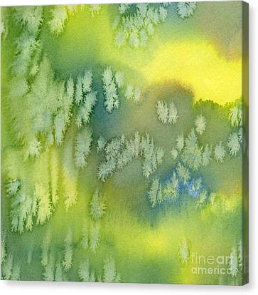Blue Green And Yellow Abstract Watercolor Design 1 Canvas Print