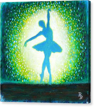 Canvas Print featuring the painting Blue-green Ballerina by Bob Baker