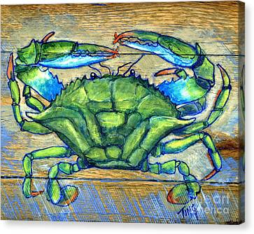 Blue Green Crab On Wood Canvas Print by Doris Blessington