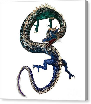 Blue Green Dragon Canvas Print