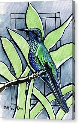 Canvas Print featuring the painting Blue Green Hummingbird by Dora Hathazi Mendes
