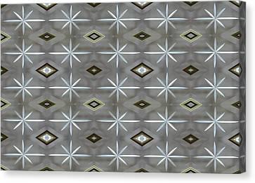 Canvas Print featuring the digital art Blue Grey Diamond Pattern by Ellen Barron O'Reilly