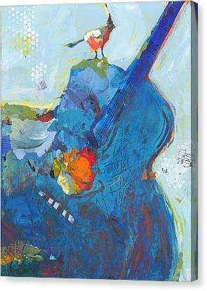 Blue Guitar With Bird Canvas Print