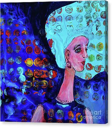Canvas Print featuring the painting Blue Haired Girl On Windy Day by Claire Bull