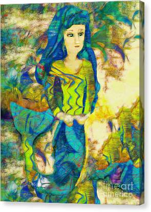 Blue Haired Mermaid Canvas Print