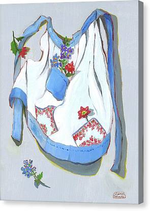 Canvas Print featuring the painting Blue Handkerchief Apron by Susan Thomas