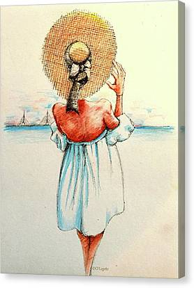 Blue Dress On The Coast Canvas Print by C F Legette