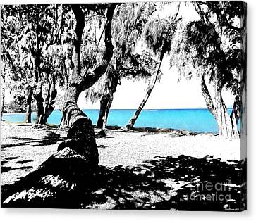 Blue Hawaii Sketch /paint 2 Canvas Print by Carl Gouveia
