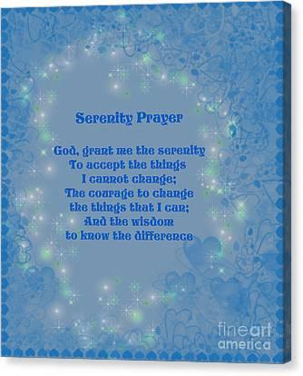 Blue Hearts Serenity Prayer Canvas Print