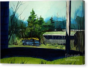 Canvas Print featuring the painting Blue Heron Lake Matted, Framed, Glassed by Charlie Spear
