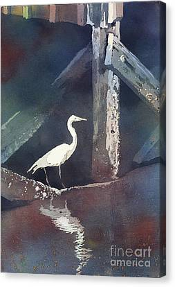 Canvas Print featuring the painting Blue Heron- Outer Banks by Ryan Fox
