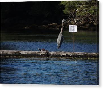 Blue Heron Private Property Canvas Print