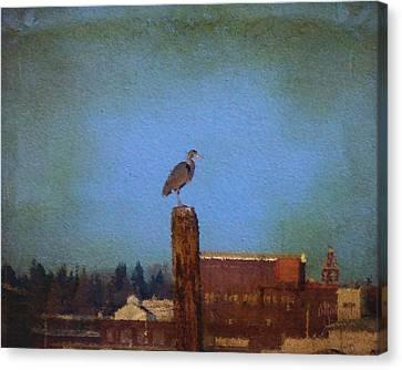 Blue Heron Sky Painted Canvas Print