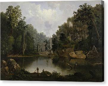African American Artist Canvas Print - Blue Hole Flood Waters Little Miami River by Robert Seldon Duncanson